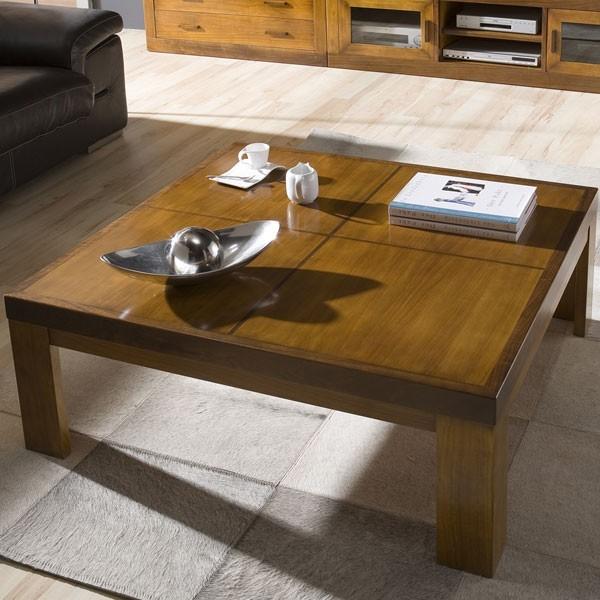 Mesa de centro cuadrada de madera con acabado gris natural velado y car interior design - Mesa centro cuadrada ...