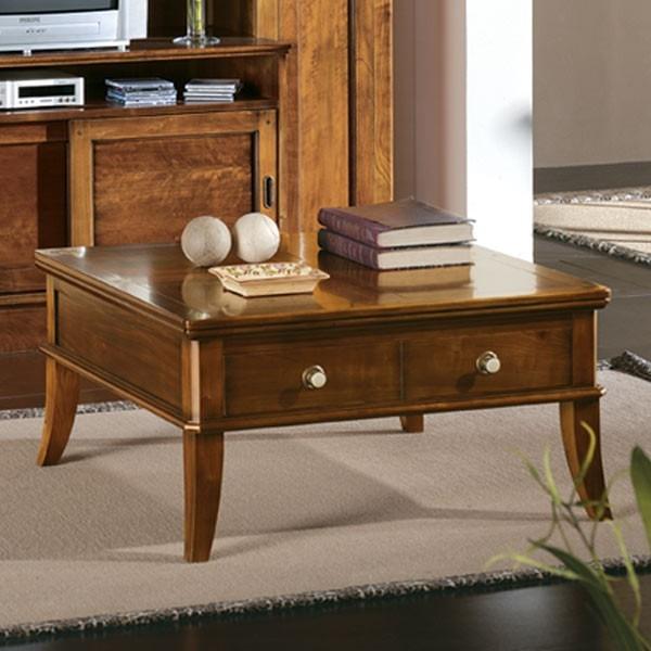 Mesa centro cuadrada 1 cajon 90x90 cm for Mesas cuadradas de madera